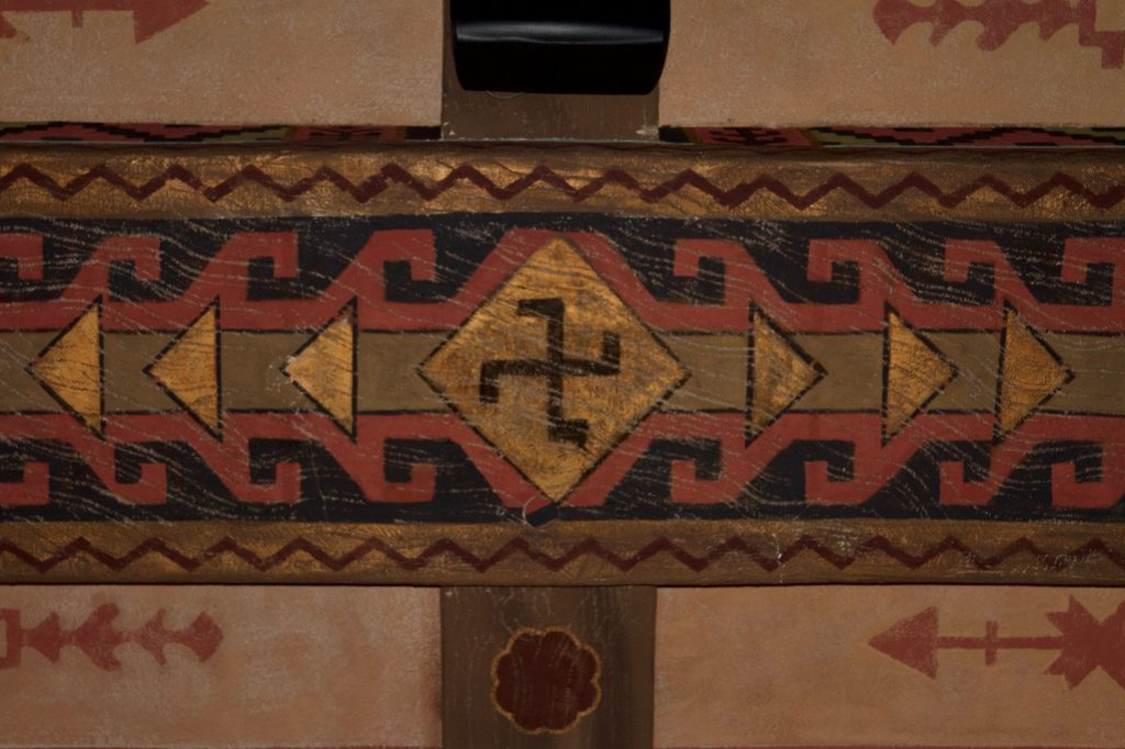 Swastika symbol painted on the ceiling of the Mission Playhouse theater.