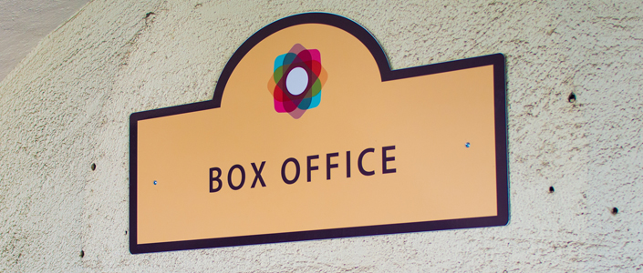 San Gabriel Mission Playhouse Box Office Sign