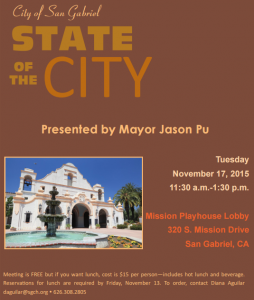 State of the City 2015 San Gabriel Mission Playhouse