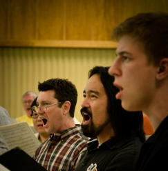 Singers from Pasadenas Master Chorale in rehearsal